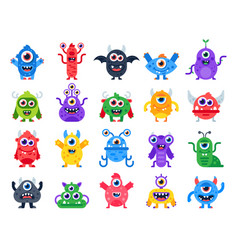 Cartoon monster cute happy monsters halloween vector