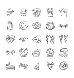 celebration and party doodle icons set vector image