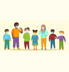 Children and teenagers wearing surgical mask vector