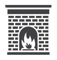 christmas fireplace glyph icon new year christmas vector image