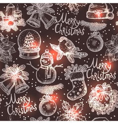 Christmas Monochrome Sketch Seamless Pattern vector image
