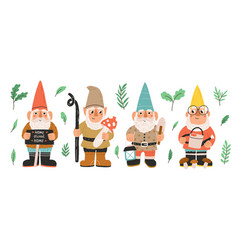 collection garden gnomes or dwarfs holding vector image