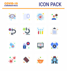 coronavirus awareness icons 16 flat color icon vector image