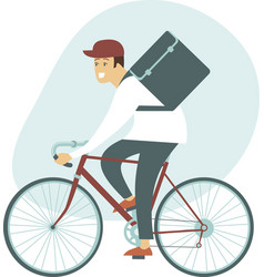 Courier bicycle delivery man with parcel box vector
