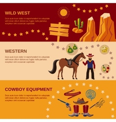 Cowboy banners flat vector