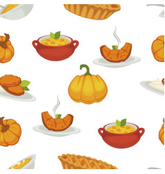 delicious pumpkin dishes for main course and vector image