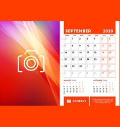 desk calendar planner template for september 2020 vector image