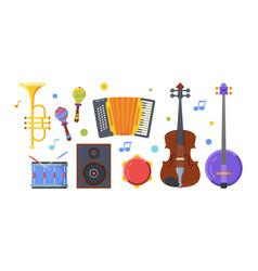 Different folk musical instruments flat vector