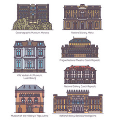 Famous european culture buildings in thin line vector