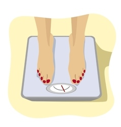 female feet standing on weight scale vector image