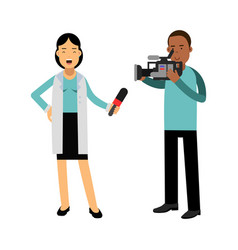 female reporter and cameraman operator characters vector image