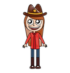 Female sheriff avatar character vector