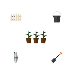 Flat icon dacha set of flowerpot pump spade and vector