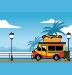 Food truck selling hot dog on the beach vector