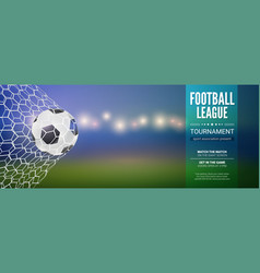 football banner soccer ball hits to net blurred vector image