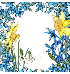 Frame with spring flowers daffodils and and small vector