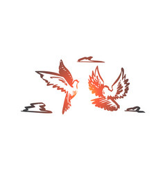 Freedom peace couple flight birds concept vector