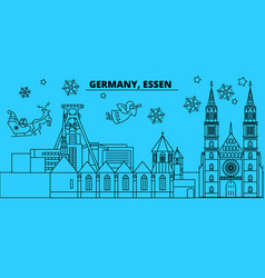 germany essen winter holidays skyline merry vector image