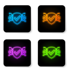 Glowing neon cyber security icon isolated on vector