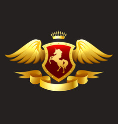 golden unicorn shield with ribbon and crown vector image