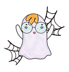 Grated ghost wearing glasses with spiderweb style vector