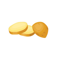 Half of fresh unpeeled potato with two chopped vector