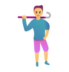 happy field hockey player icon cartoon style vector image