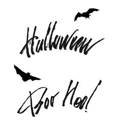 Happy helloween lettering handwritten isolated vector