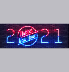 Happy new year 2021 neon colorful banner new year vector