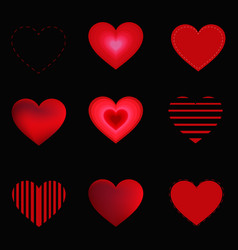 hearts set isolated on black background vector image