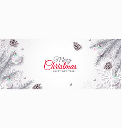 Horisontal holiday banner in trendy white and vector