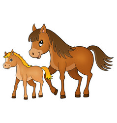 Horse with foal theme image 1 vector