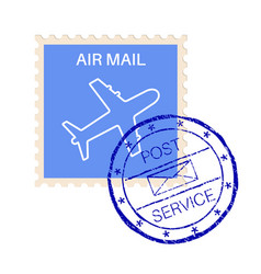 International air mail stamp with post service vector