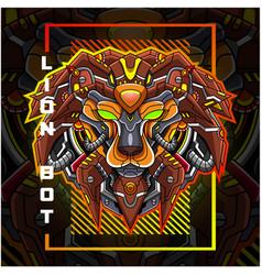 lion head robot esport mascot logo design vector image
