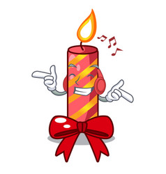 Listening music christmas candle combined with vector