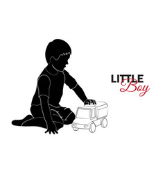 little child baby little boy playing with car vector image