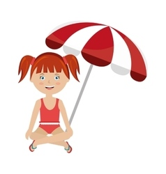 Little girl with beach umbrella vector