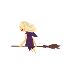 little witch character flying with broom cartoon vector image