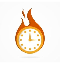 logo clock in a fire vector image