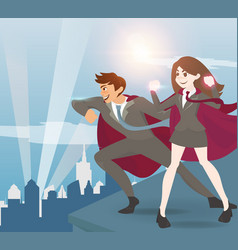 man and women superhero with sunlight vector image