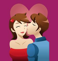 Man kissing his girlfriend vector