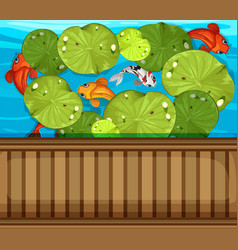 Many fish swimming in the pond vector
