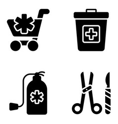 Medical accessories glyph icons pack vector