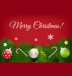 merry christmas greeting poster with symbols set vector image
