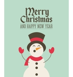 Merry christmas snowman decoration card vector