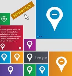 Minus Map pointer GPS location icon sign Metro vector