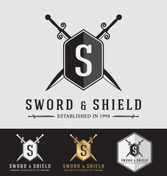 Modern Vintage Sward and Shield Logo Crest Design vector