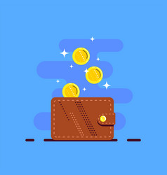 money wallet with dropping coins flat design vector image