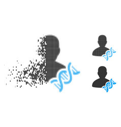 Moving dotted halftone geneticist dna icon vector