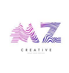 Mz m z zebra lines letter logo design with vector